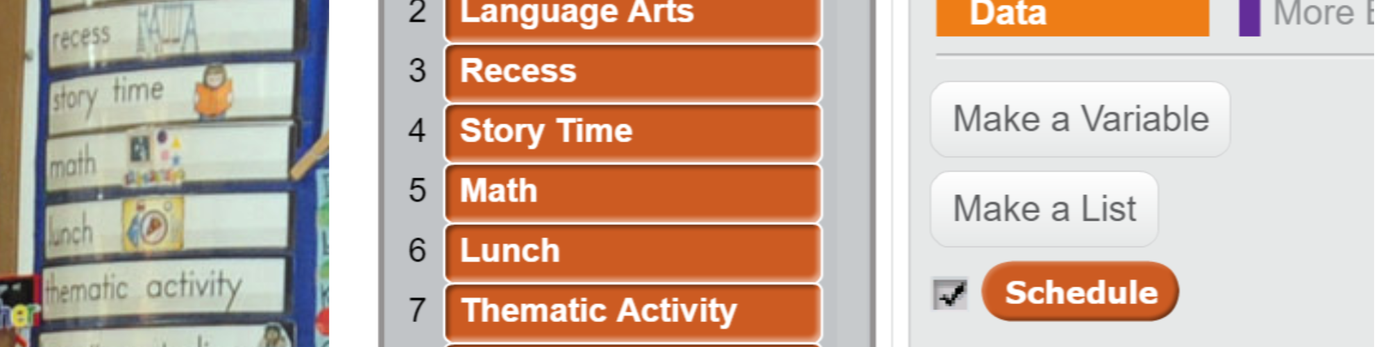 part of a classroom schedule and its representation in Scratch